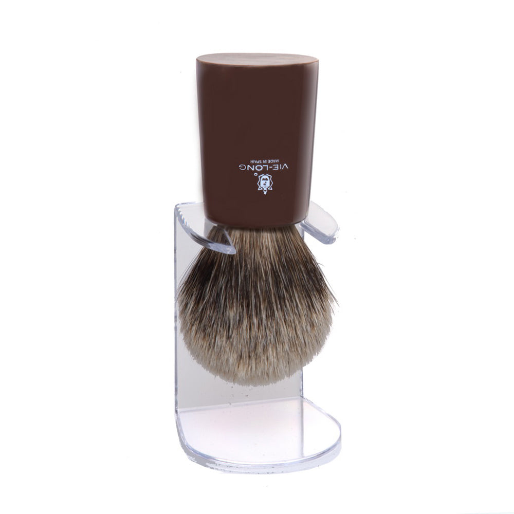 Vie-Long Silver Tip Badger Shaving Brush - Polished Bull Horn Handle