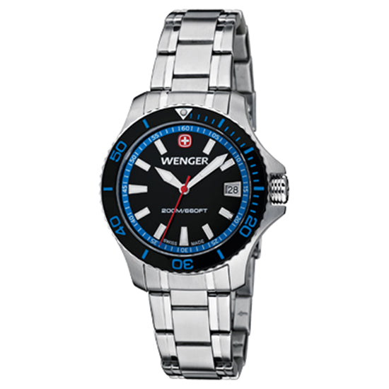 Wenger Sea Force Watch - Small, Black and Blue Dial, Stainless Steel Bracelet