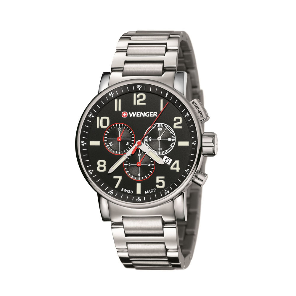 Wenger Attitude Chrono Watch - Large, Black/Silver Dial, Stainless Steel Bracelet