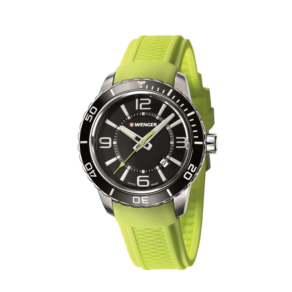 Wenger Roadster Watch - Extra Large, Black and White Dial, Black Bezel, Green Rubber Strap