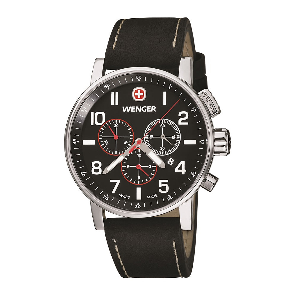 Wenger Attitude Chrono Watch - Large, Black Dial, Black Leather Strap