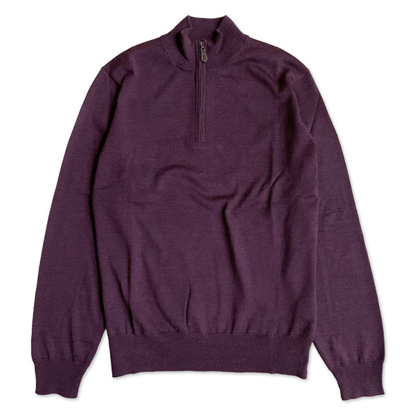 Barton Half Zip Mock Neck Merino Wool Jumper - Blackgrape