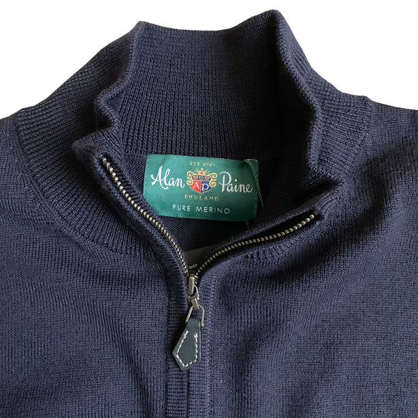 Barton Half Zip Mock Neck Merino Wool Jumper - Dark Navy