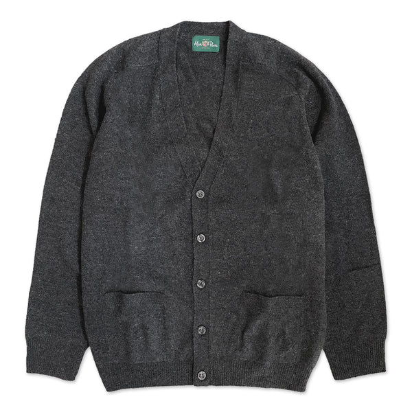 Cornwall Lambswool V-Neck Cardigan - Charcoal