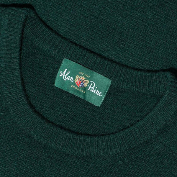 Lenzie Lambswool Crew Neck Jumper - Tartan Green