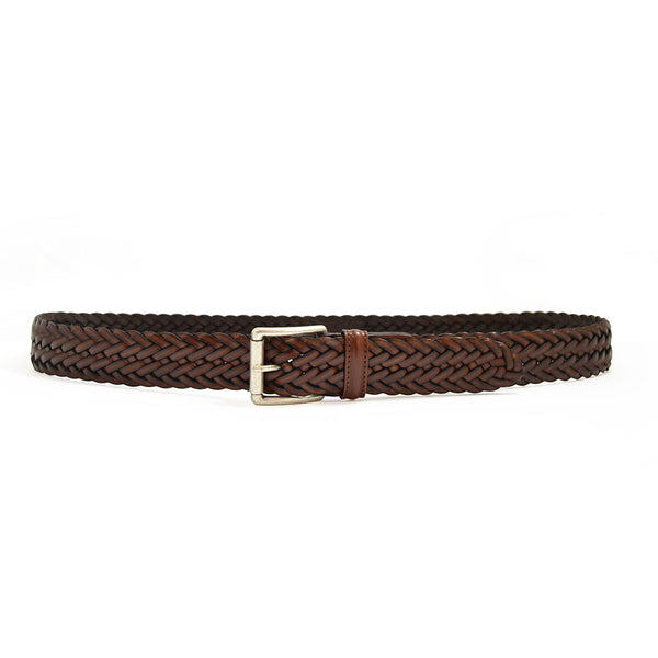 Woven Leather Belt - Tan