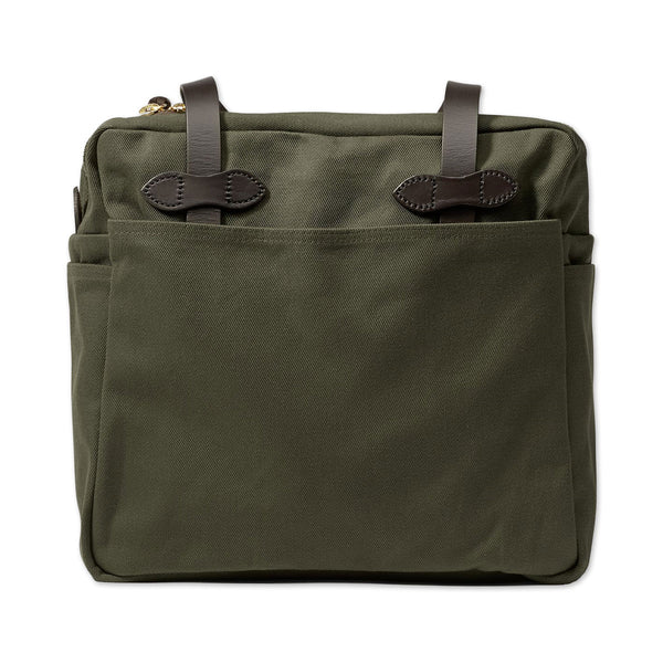 Rugged Twill Tote Bag With Zipper - Otter Green