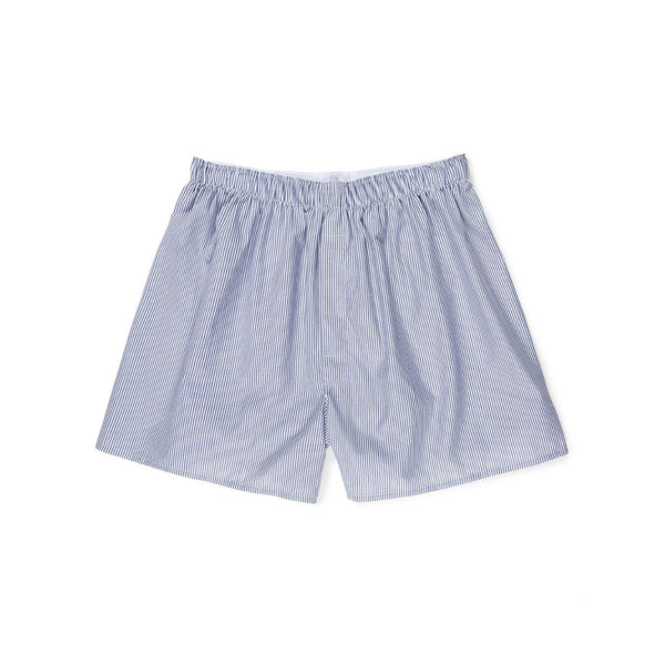 Classic Boxer Shorts - White/Navy/Light Blue Pinstripe