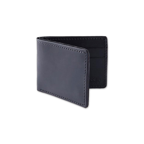 Utility Bifold Leather Wallet - Black