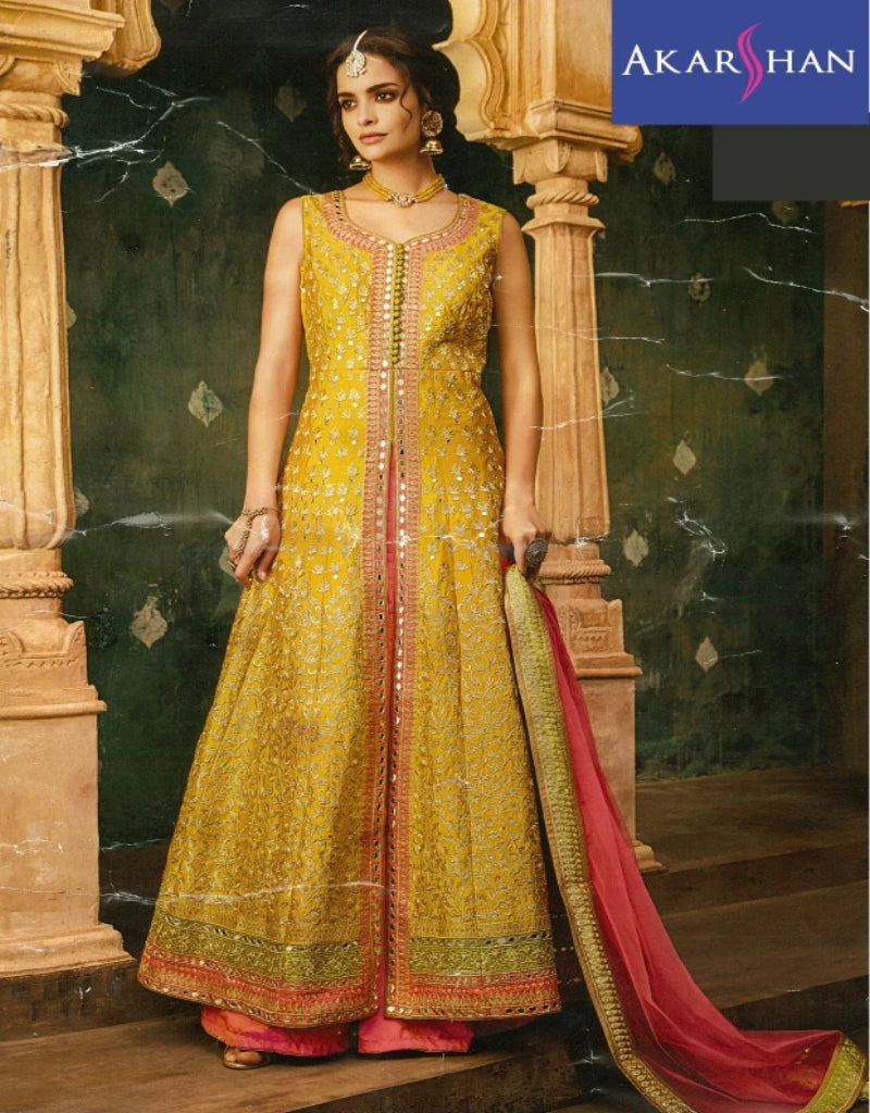 Long Flair Kameez in Silk with Skirt