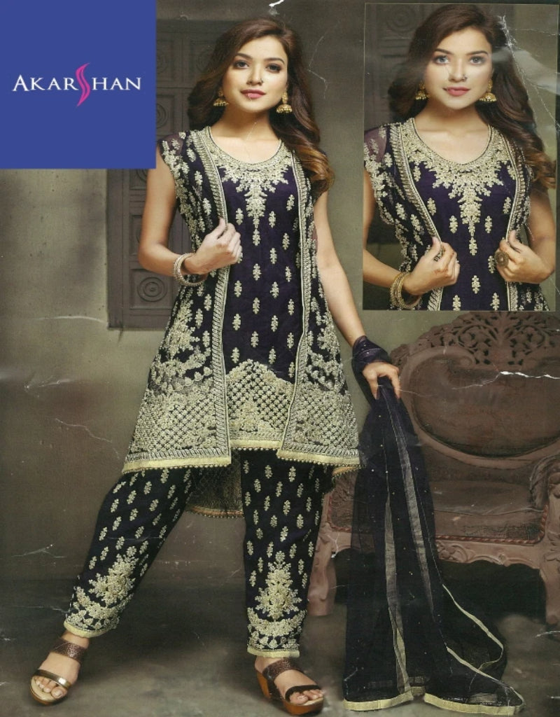 Designer high low Kameez with jacket and Straight Palazzo pants
