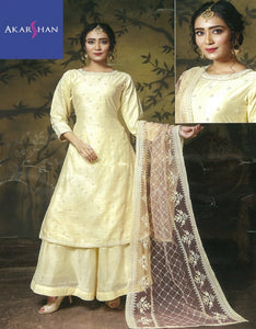 Silk Straight Kameez with Plazo and heavy Dupatta