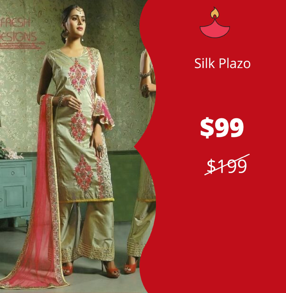 Straight Kameez in floral Embroidery with Plazo