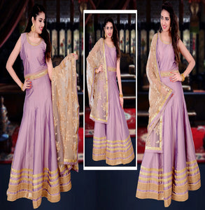 Silk Long Flair kameez with heavy Dupatta