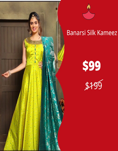Flair Kameez with Banarasi Silk Dupatta