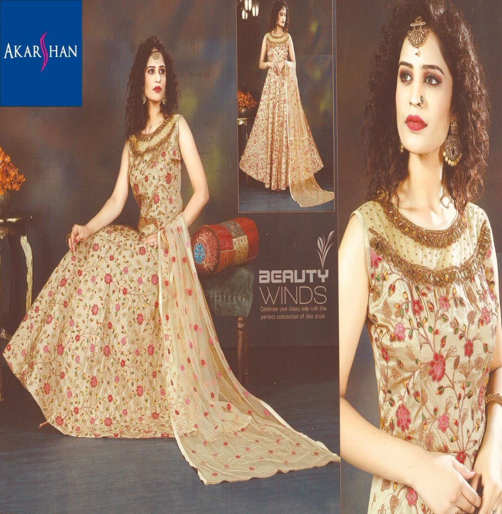 Silk Floral Embroidery Flair Kameez