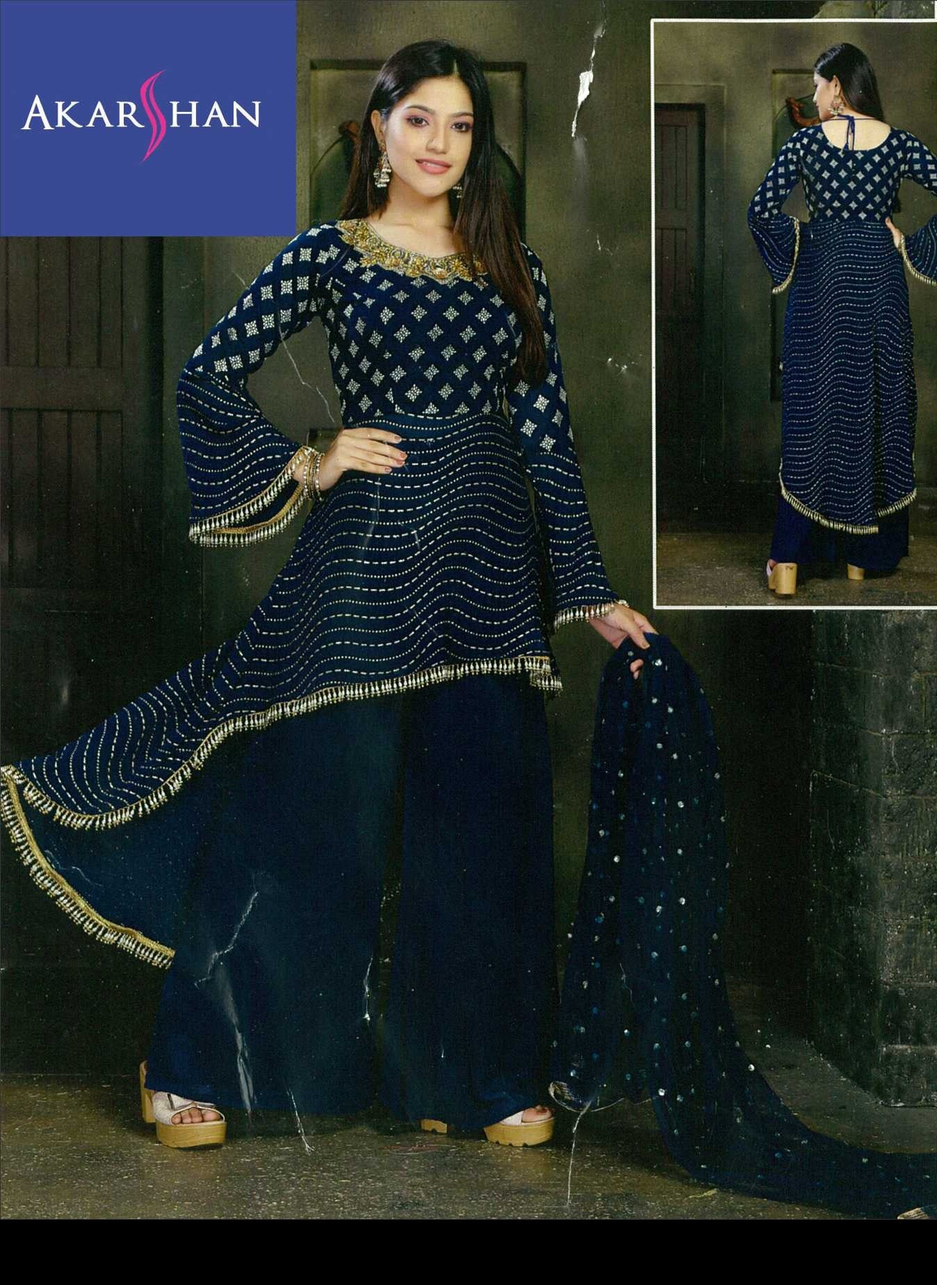Georgette High Low Kameez in handwork with Plazo