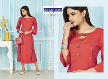 Load image into Gallery viewer, Rusty Red Rayon Flair Kurti