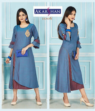 Load image into Gallery viewer, Blue flair rayon Kurti