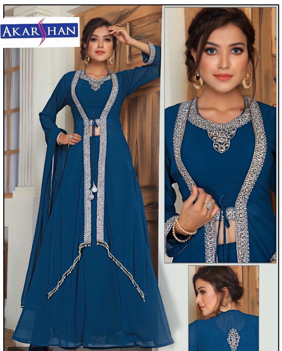 Georgette kameez In handwork with Jacket