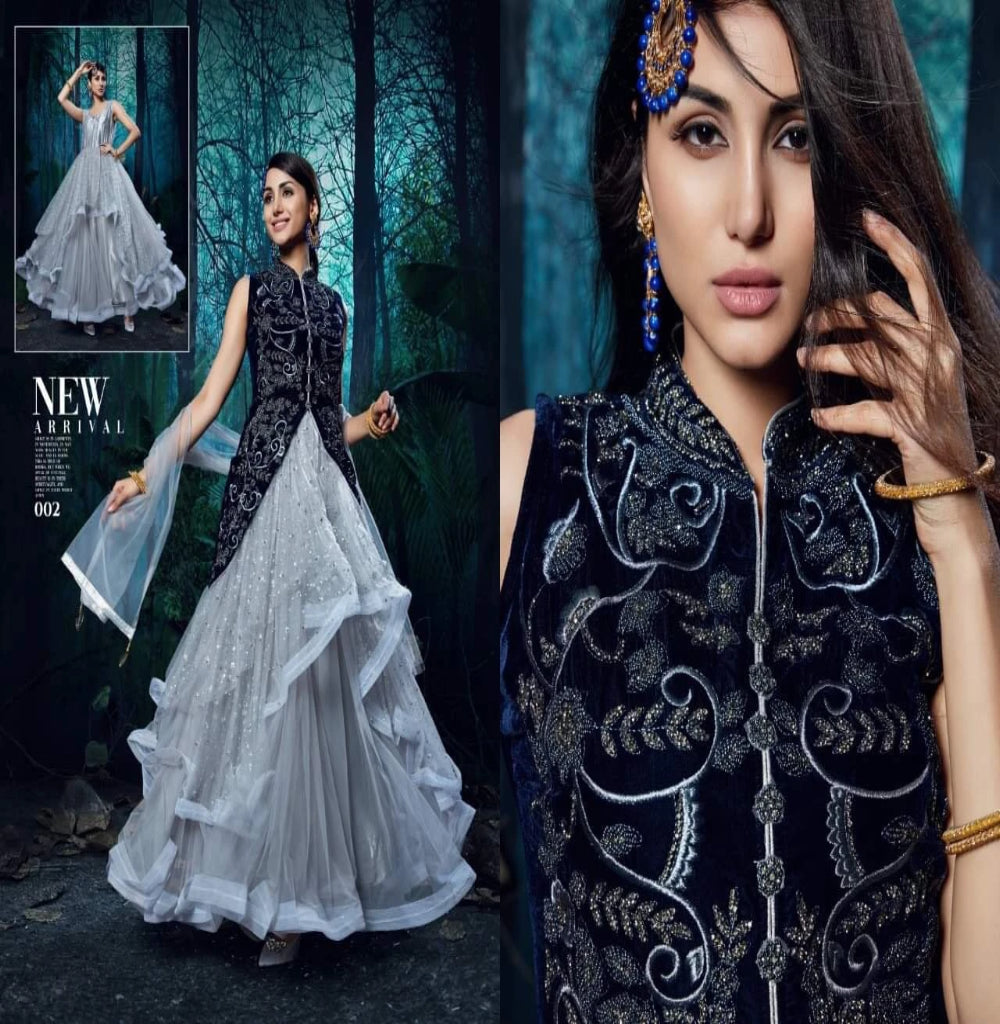 Designer Flair Ruffle Lehenga Kameez with Velvet Jacket