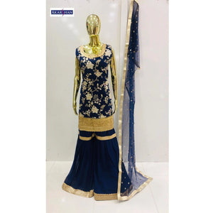 Georgette Sharara with Embroidered Dupatta