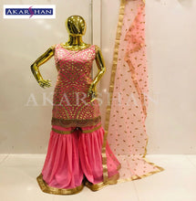 Load image into Gallery viewer, Leather work Sharara in Georgette with pearl work border and Dupatta.