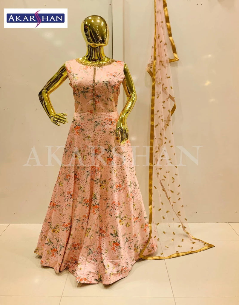 Floral Printed Flair Kameez in Silk with heavy Dupatta
