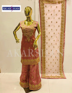 Straight Silk Plazo Kameez in Embroidery