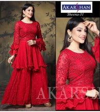 Load image into Gallery viewer, Georgette Kameez with Plazo and Ruffle Sleeves