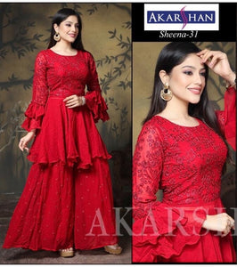 Georgette Kameez with Plazo and Ruffle Sleeves