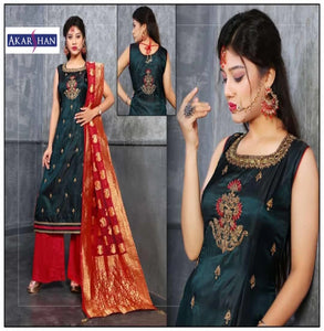 Silk Straight Plazzo Suit with Silk Dupatta