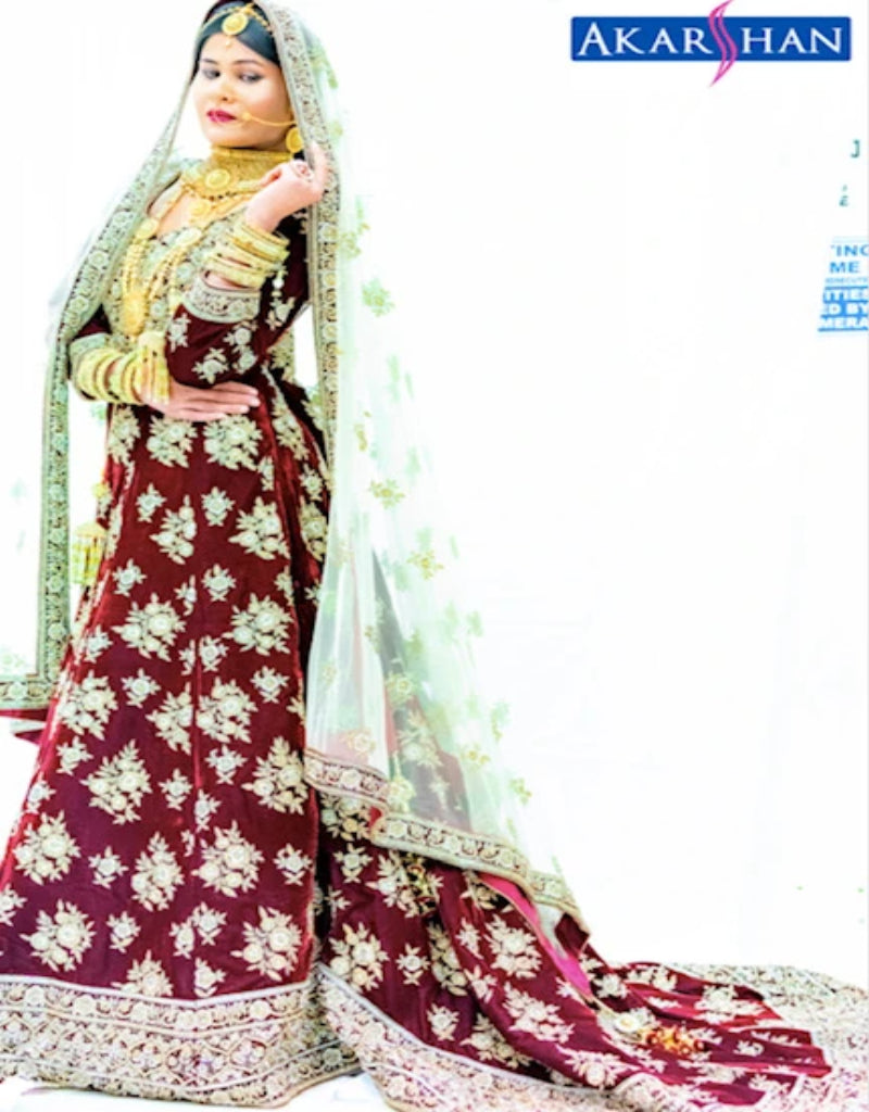 Velvet Bridal Long Kameez in tail