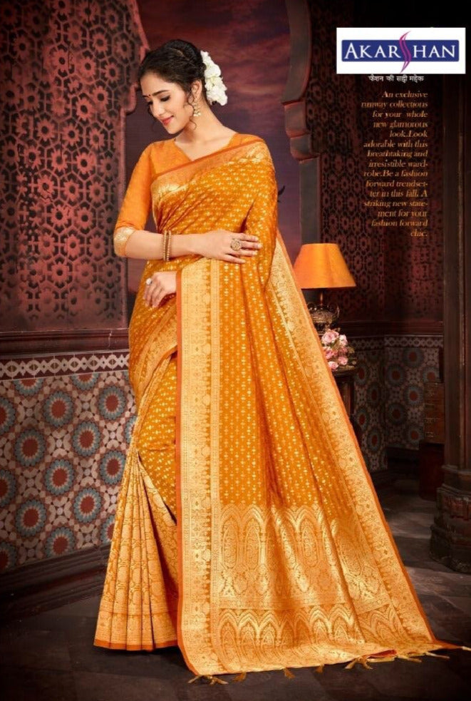 Pure Silk Saree in Mustard
