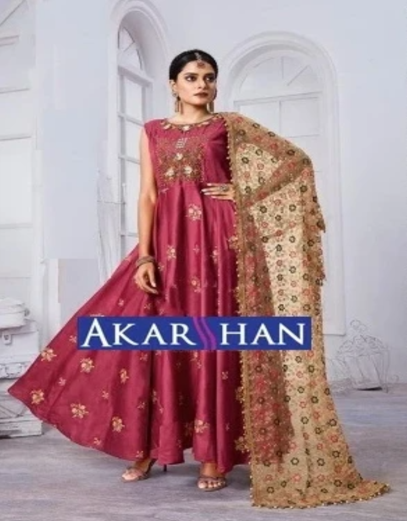 Silk Kameez With Embroidered Duppatta