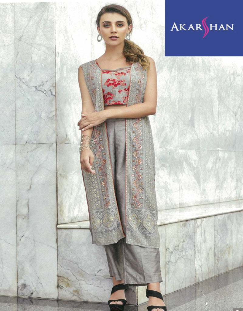 Silk Kameez in Jacket with Plazo
