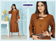 Load image into Gallery viewer, Mustard  Rayon Flair Kurti