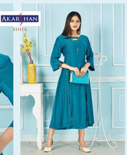 Load image into Gallery viewer, Blue Rayon Flair Kurti