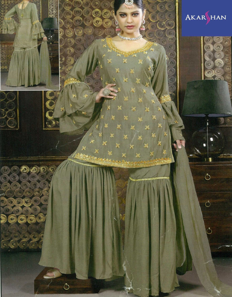 Handworked Sharara with Ruffle sleeves