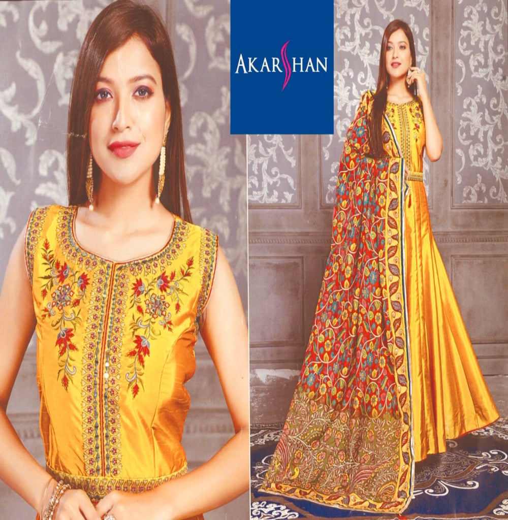 Silk Flair Embroidery Kameez with Floral Printed Silk Dupatta