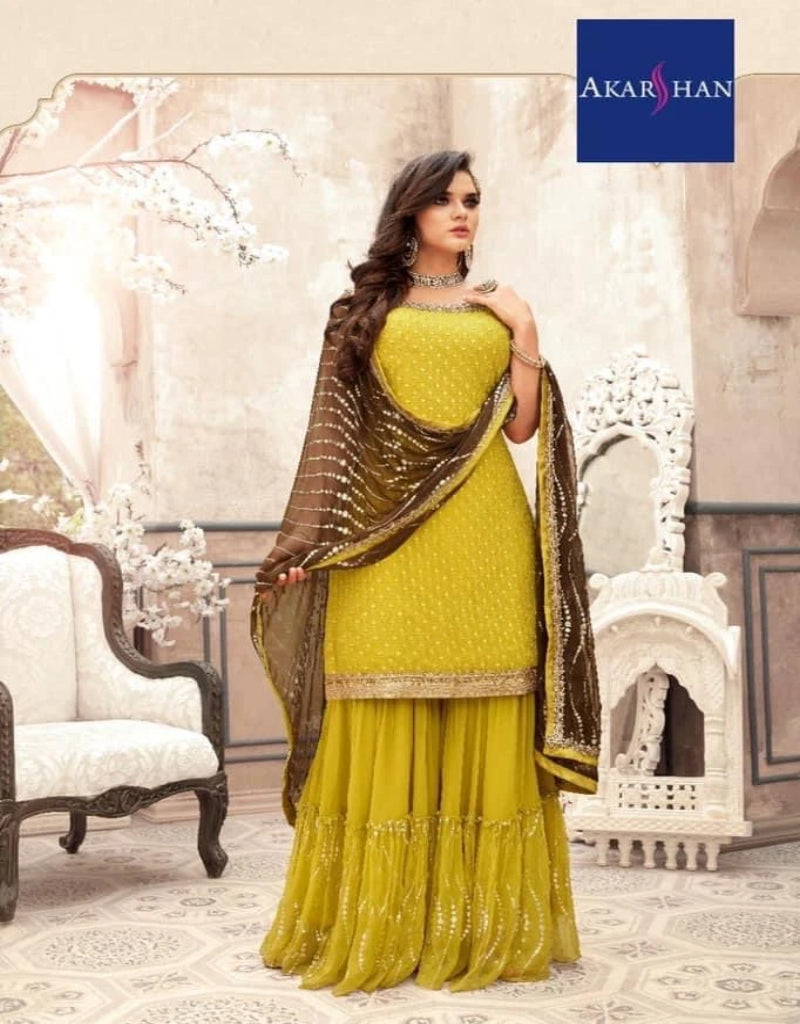Embroidered Georgette Sharara
