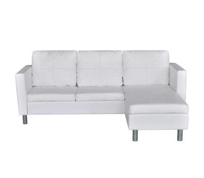 vidaXL White Artificial Leather Sectional Sofa Configurable Chaise Lounge Modern Couch