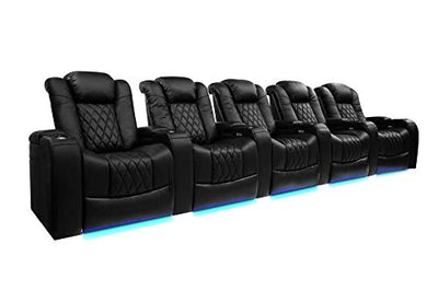Valencia Pavillion Home Theater Seating | Top Grain Nappa Leather, Power Reclining, Power Headrest (Row of 5, Black) Free Black Tray Table Included