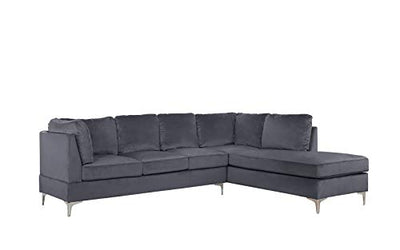 "Casa Andrea Upholstered Velvet 101.1"" inch Sectional Sofa, Classic Living Room L-Shape Couch (Grey)"