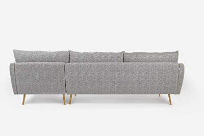 "ALBANY PARK Park 114"" Mid-Century Modern Sofa Sectional, Right Facing, Grey Fabric"