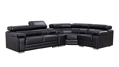 "American Eagle Furniture Daphne Modern Italian Leather Right Facing Sectional Sofa, 126"", Black"