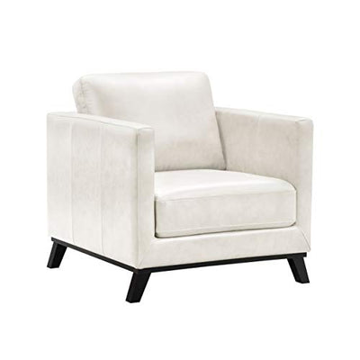 Abbyson Living Mid-Century Modern Premium Top Grain Leather Armchair, Ivory
