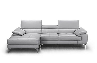 J and M Furniture Liam Premium Leather Sectional Chaise, Modern