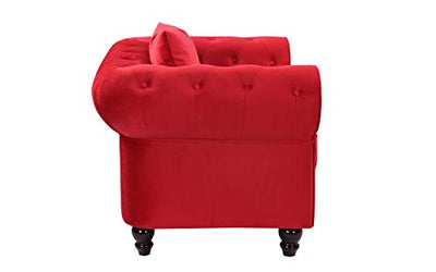 Classic Scroll Arm Large Velvet Living Room Chesterfield Accent Chair (Red)