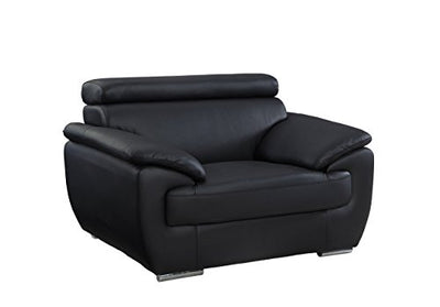 Blackjack Furniture 4571 Veal Collection Leather Match Upholstered Modern Living Room, Accent Chair, Black